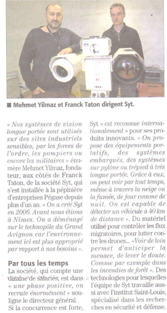 Article Midi Libre N°26330 Décembre 2017 SYT Technologies